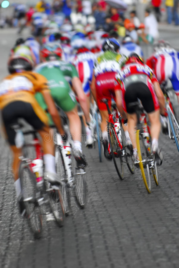 Motion blur a group of cyclists stock photo