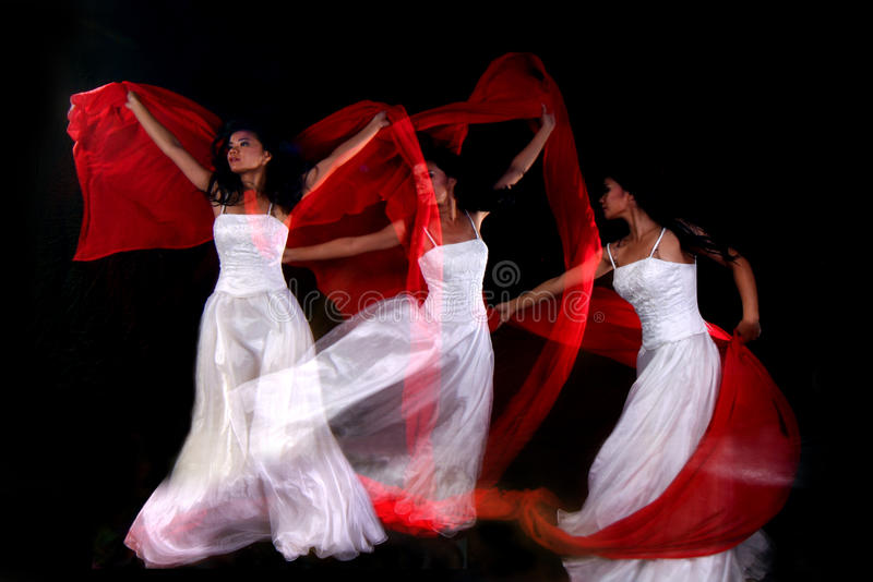 Motion Blur Multiple Exposure Of Woman Dancing Royalty Free Stock Images