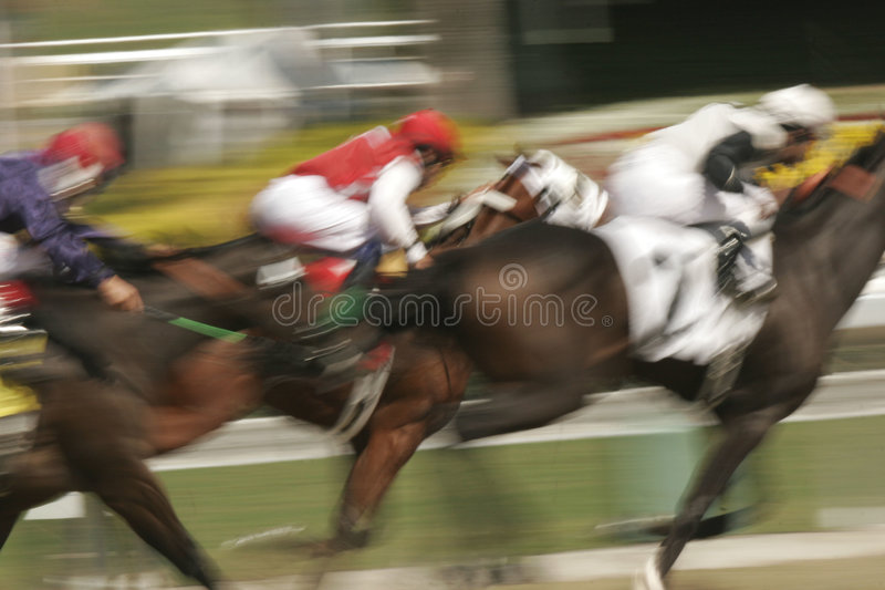 Motion Blur of Racing Horses royalty free stock photography