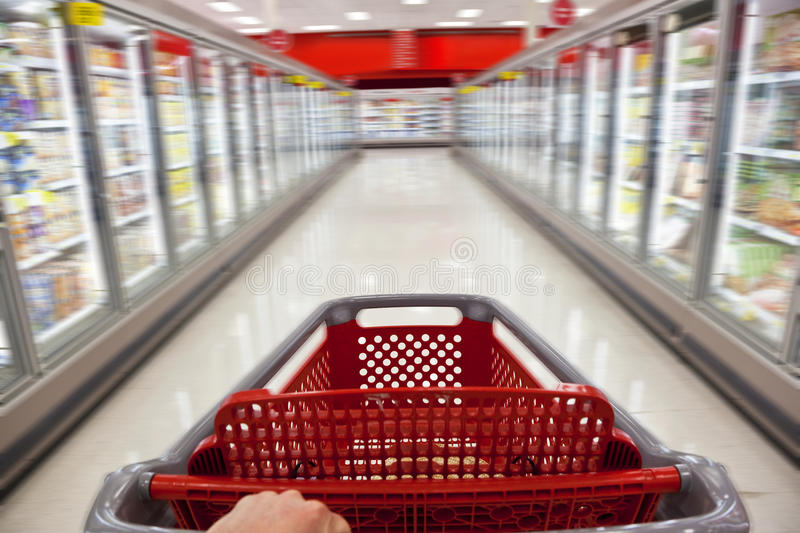 Download Motion Blur Shopping Trolley In Supermarket Stock Photo - Image: 18001440