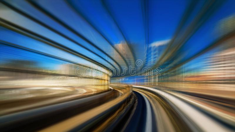 Motion blur of train moving inside tunnel in Odaiba, Tokyo stock images