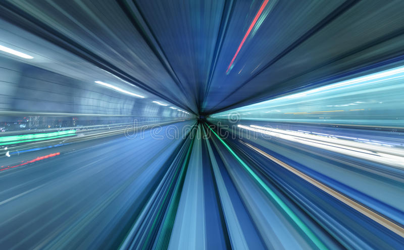 Motion blur of train moving inside tunnel, Tokyo, Japan royalty free stock photo