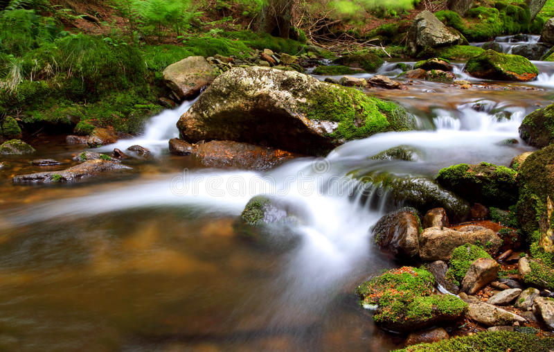 Motion Blur Waterfalls Peaceful Nature. Landscape in Krkonose stock photos