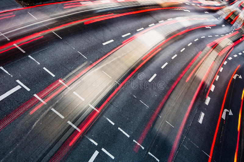 Motion blurred city road traffic stock photos