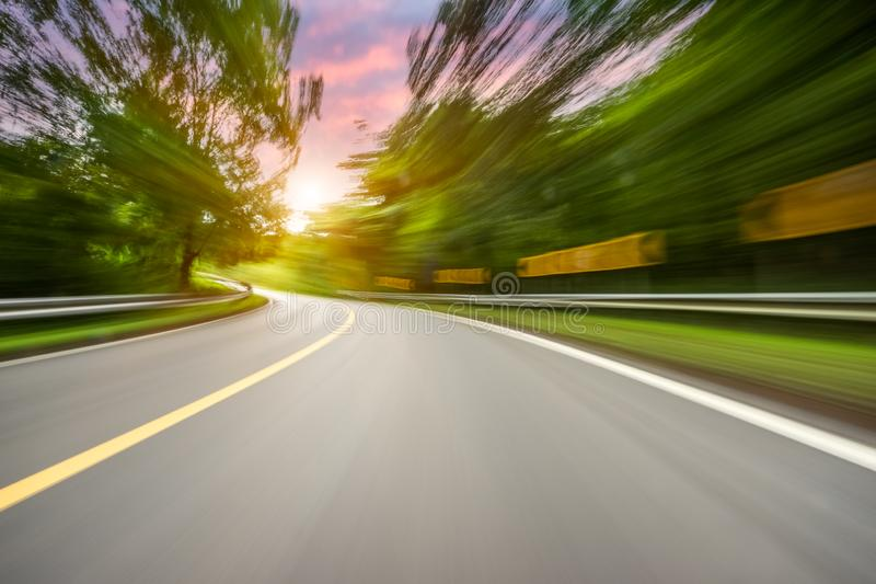 Motion blurred highway. In mountain royalty free stock images