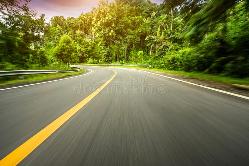 Motion blurred highway. In mountain royalty free stock photo