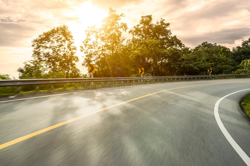 Motion blurred highway. In mountain royalty free stock photos