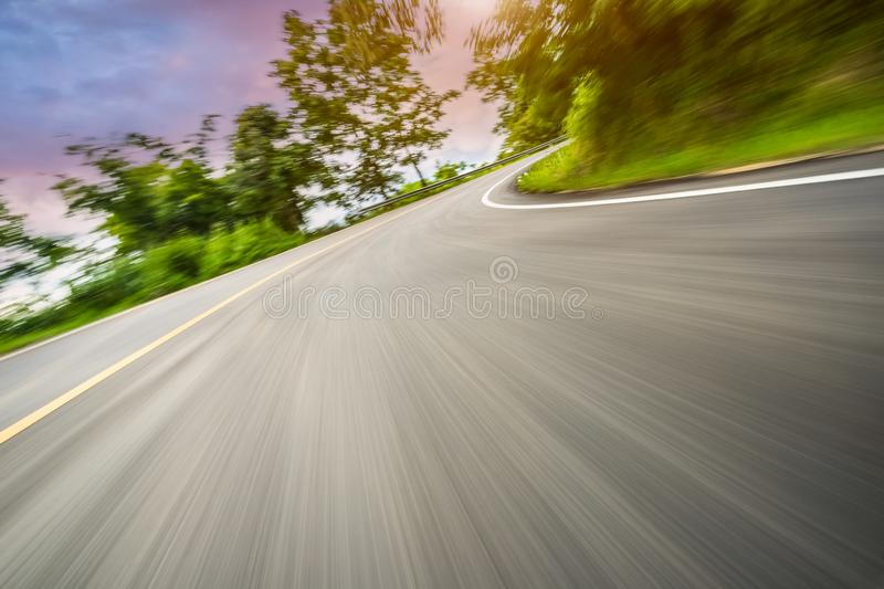 Motion blurred highway. In mountain royalty free stock image