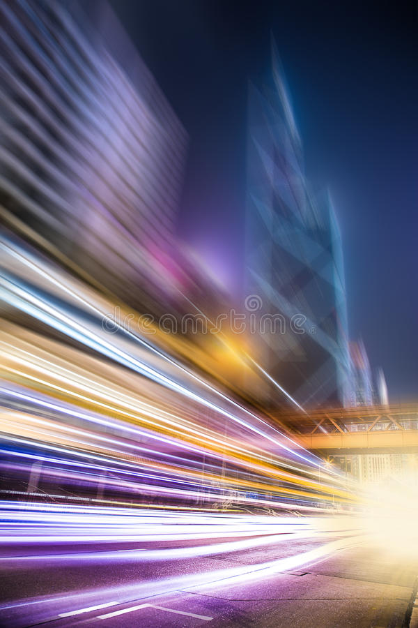 Motion blurred Hong Kong city night scenes for background. Motion blurred city night scenes for background royalty free stock photo