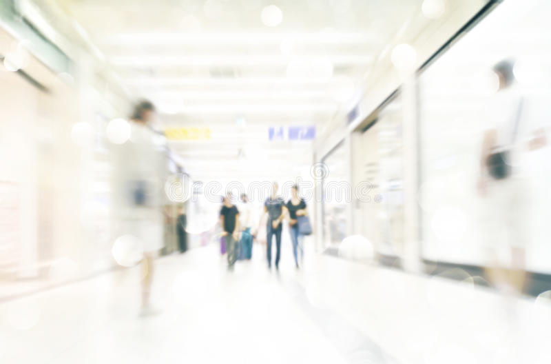 Motion Blurred People in the Shopping Mall stock photography