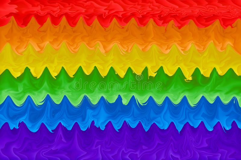 Motion blurred picture of a gay rainbow flag during pride parade. Concept of LGBT rights.  royalty free illustration