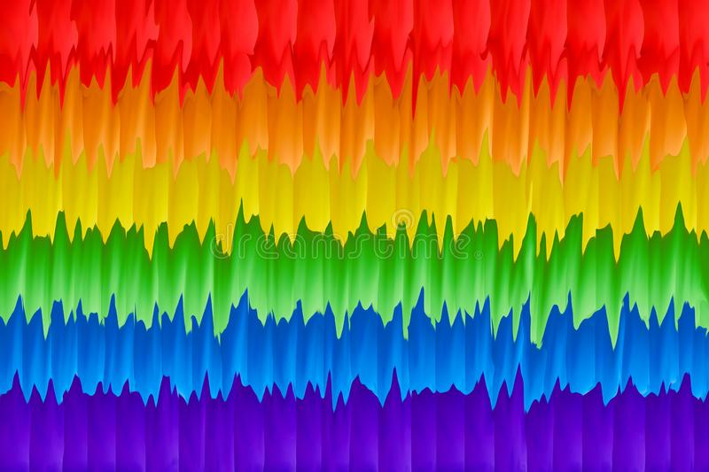 Motion blurred picture of a gay rainbow flag during pride parade. Concept of LGBT rights.  stock illustration