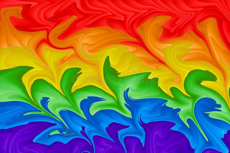 Motion blurred picture of a gay rainbow flag during pride parade. Concept of LGBT rights.  vector illustration