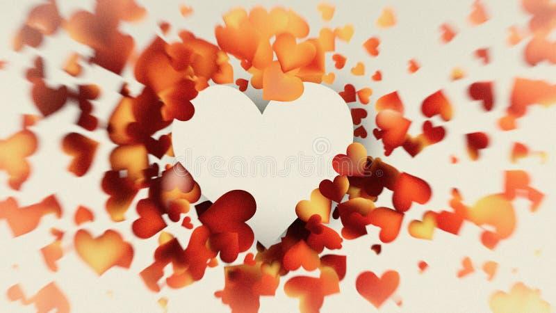 Motion Blurred Red and Orange Heart Wallpaper Background Design. Beautiful elegant Illustration graphic art design stock illustration