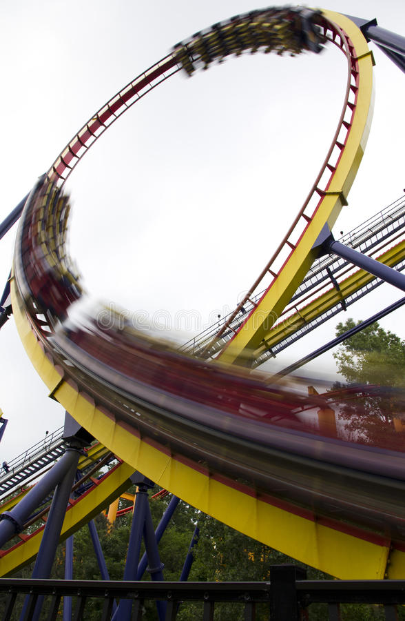 Motion blurred roller coaster royalty free stock images