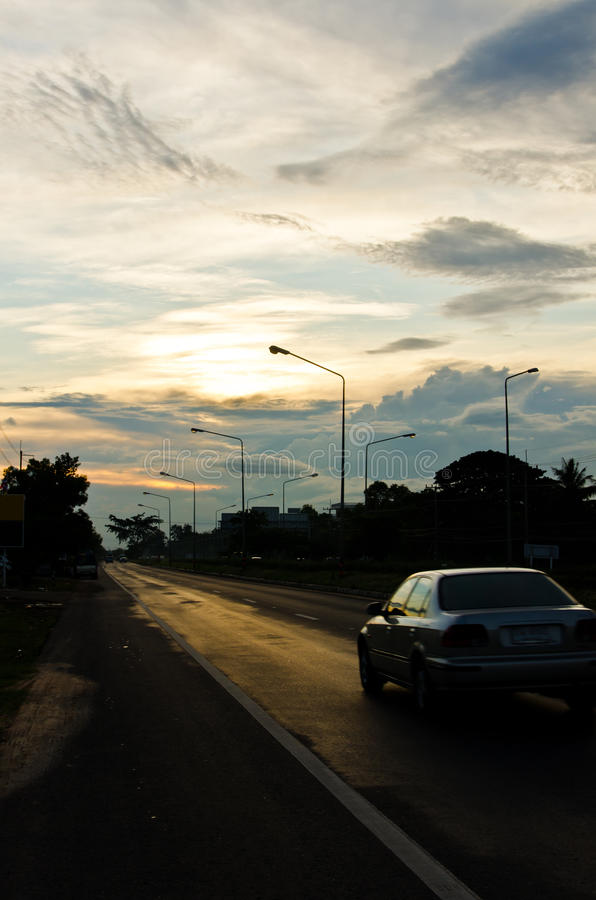 Download Motion Car On The Road And Bluesky Stock Photo - Image: 23735054