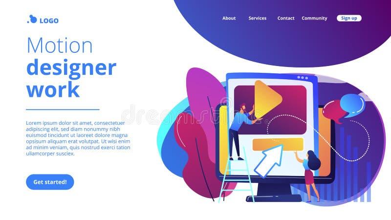Motion graphic design concept landing page. stock illustration