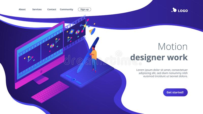Motion graphic design isometric 3D landing page. royalty free illustration