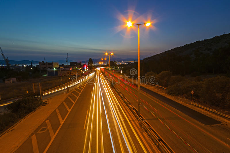 Motion on highway. View of motion on highway at the dusk royalty free stock photo