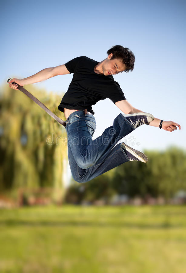In motion jump 4 stock photography