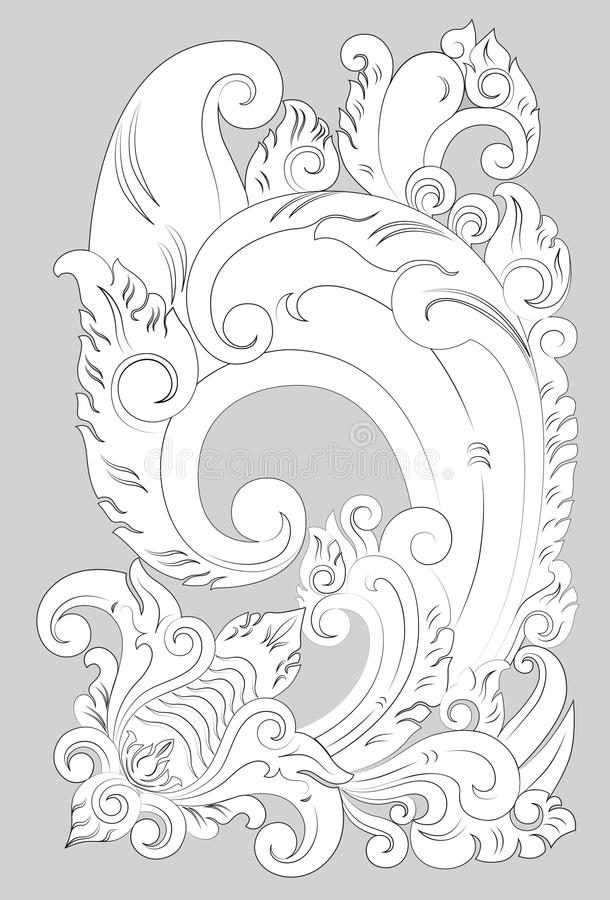 Motiv-Bali-Linie Kunst stock abbildung