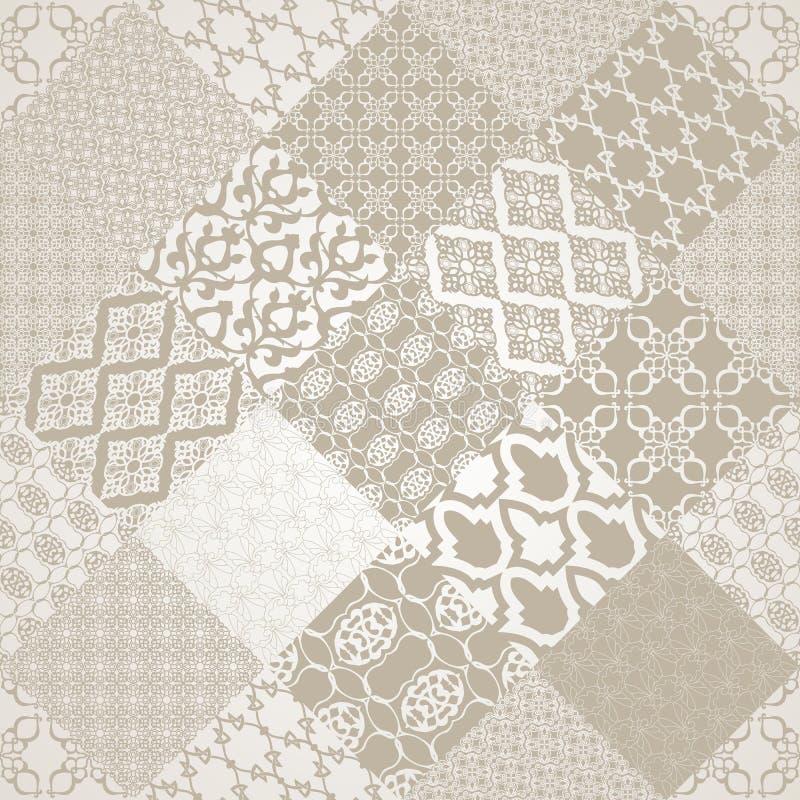 Motiv för sömlös patternwith för Patel färg orientaliskt stock illustrationer