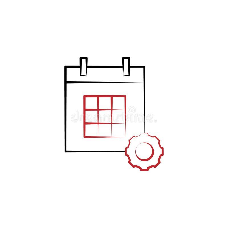 Motivação, calendário, linha colorida ícone da engrenagem 2 Elemento tirado mão colorido simples da ilustração calendário, símbol ilustração do vetor