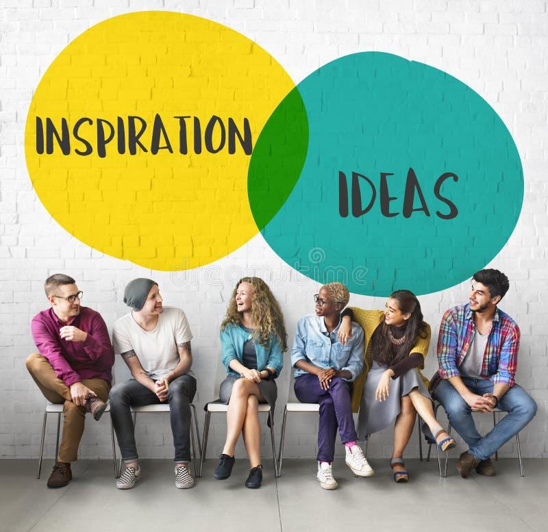 A motivação das ideias da inspiração circunda o conceito imagem de stock