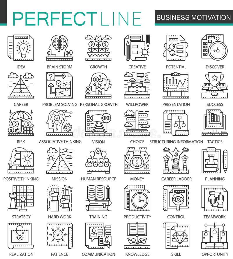 A motivação e a disciplina do negócio esboçam mini símbolos do conceito Ilustrações lineares do estilo do curso moderno ajustadas ilustração stock