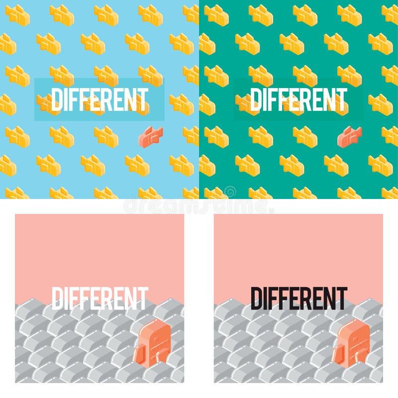 Motivación única de la inspiración de la vida de la diferencia de la dirección stock de ilustración