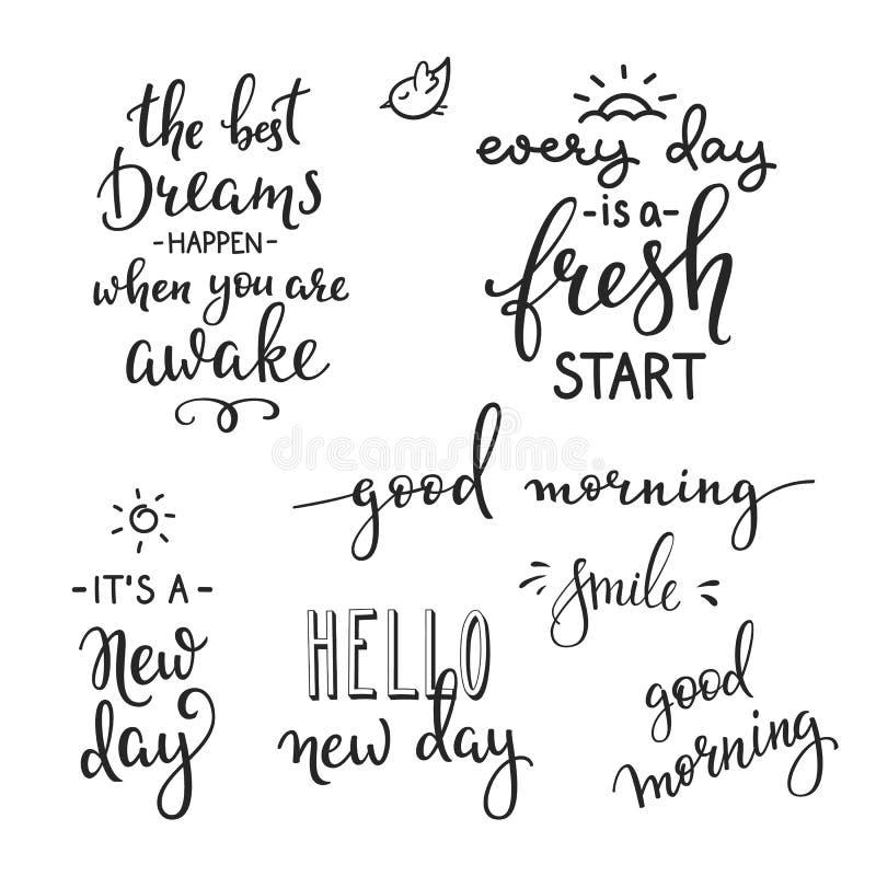 Motivación de las citas para la vida y la mañana de la felicidad stock de ilustración