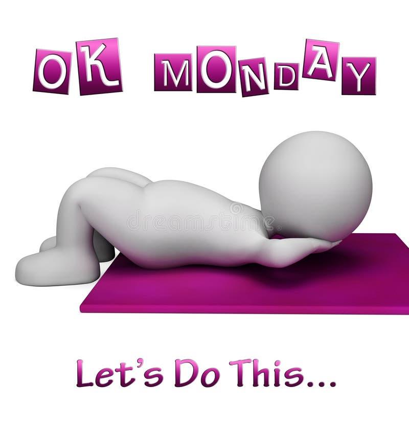 Motivación del gimnasio de lunes - Lets haga esto - ejemplo 3d stock de ilustración
