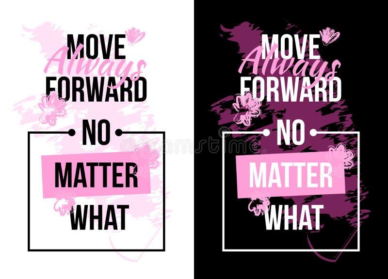 Motivación del lema con las flores Impresión del texto Ilustración del vector stock de ilustración