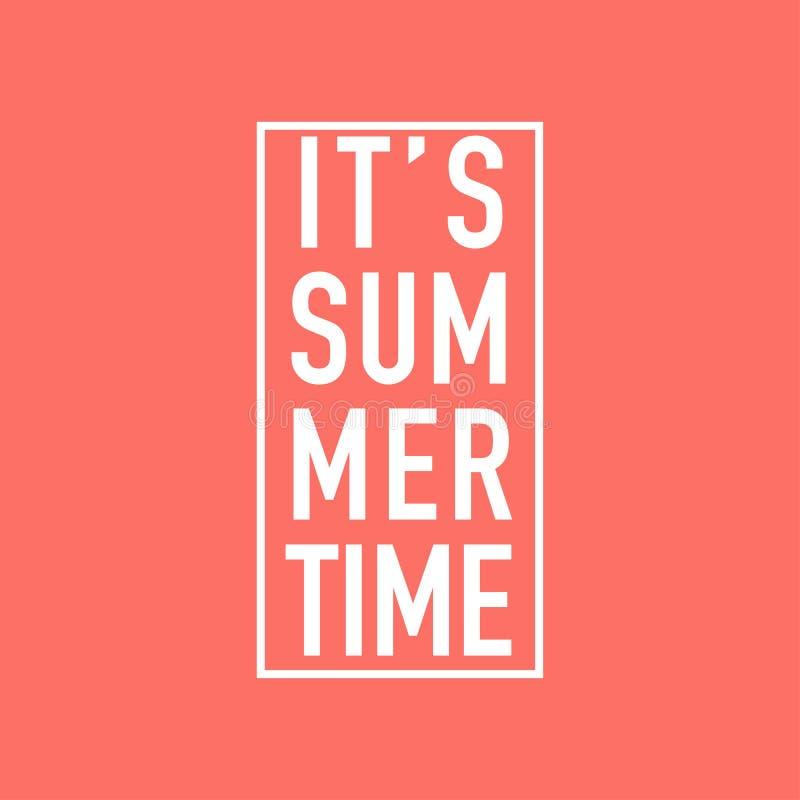 Motivación del tiempo de verano en fondo coralino de vida ilustración del vector