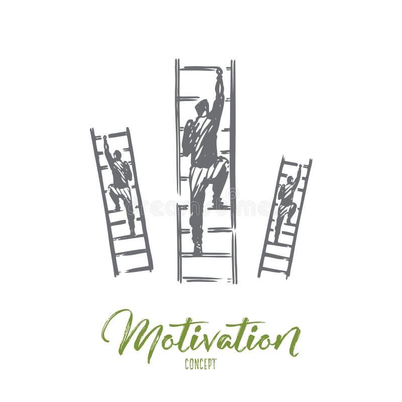 Motivación, escaleras, éxito, carrera, concepto de la meta Vector aislado dibujado mano ilustración del vector