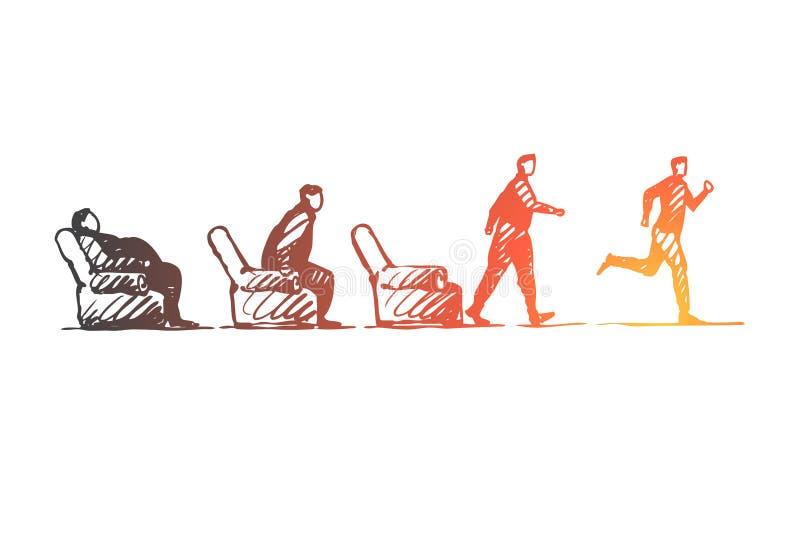 Motivación, inicio, deporte, aptitud, concepto funcionado con Vector aislado dibujado mano libre illustration