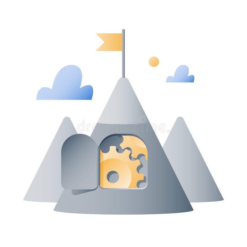 Motivación a largo plazo, montaña con las ruedas dentadas, modo de pensar del crecimiento, concepto del desafío del negocio, nive stock de ilustración