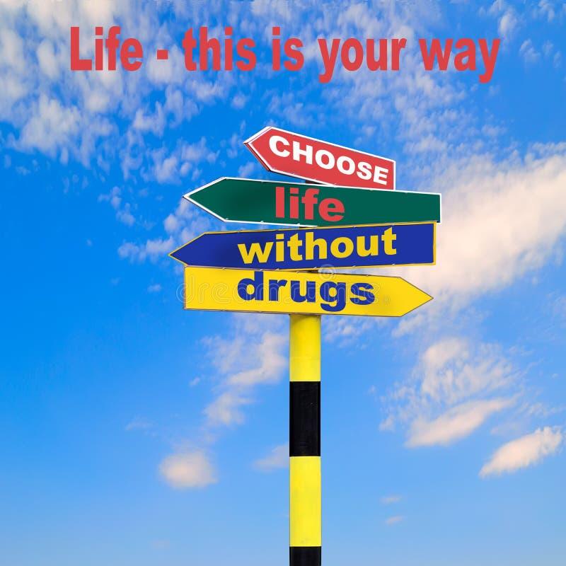 Motivación social de la publicidad para la vida sin las drogas imagen de archivo