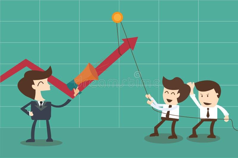 Motivador das estratégias e empregados dos incentivos pelo chefe ilustração royalty free