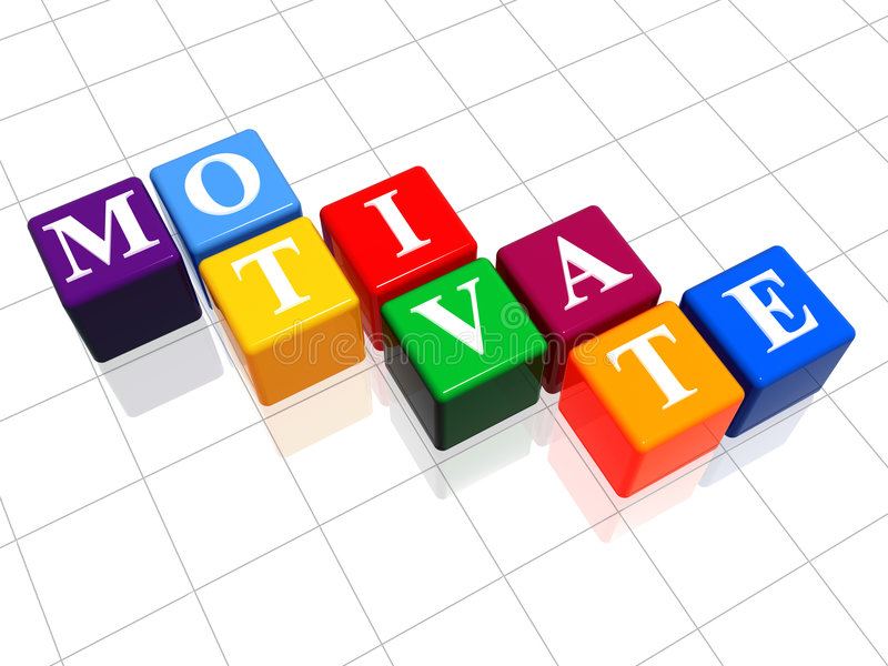 Motivate Word Cubes. 3d colour boxes with text - motivate, word royalty free stock photos
