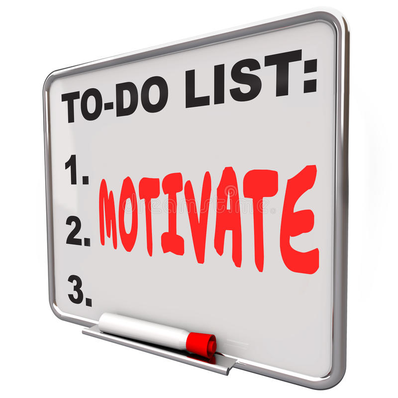 Motivate Word Dry Erase Board To Do List Encourage Inspire vector illustration