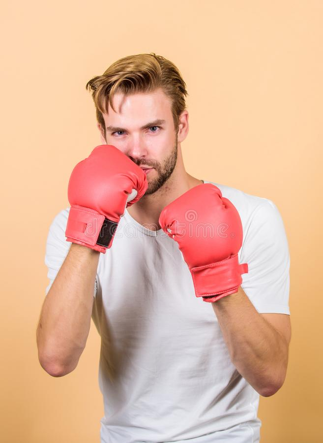Motivated for victory. Sportsman boxer with gloves. Boxing concept. Man athlete boxer concentrated face. Boxer practice. Fighting skills. Boxer handsome strict royalty free stock images