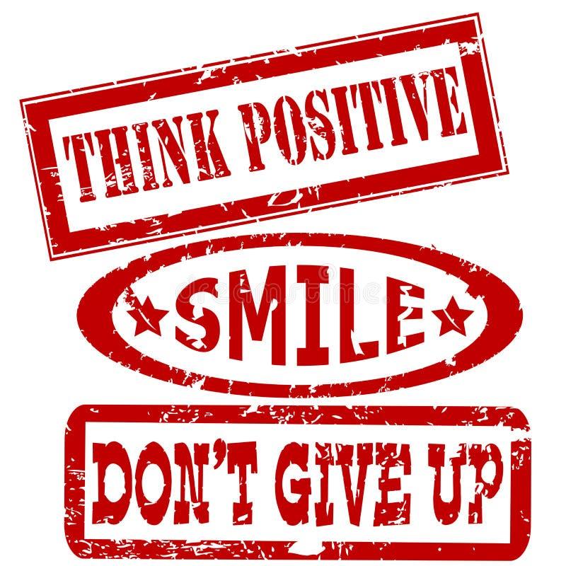 Motivatie en positieve het denken berichten rubberzegels vector illustratie