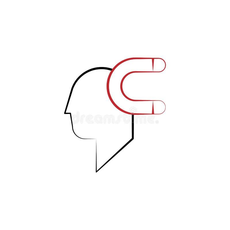Motivatie, mens, magneet, aantrekkelijkheid 2 rassenbarrièrepictogram Eenvoudig gekleurd hand getrokken element van illustratie m stock illustratie