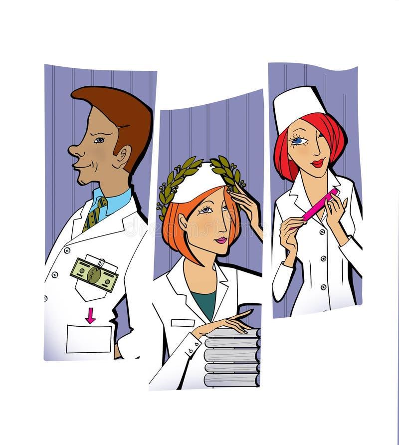 Motivatie van werknemers: geld, bekendheid, complimenten Een man en twee vrouwen in witte uniformen vector illustratie