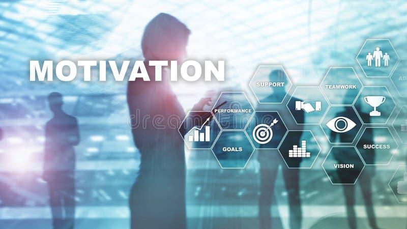 Motivatieconcept met bedrijfselementen Commercieel team Financieel concept op vage achtergrond Gemengde media royalty-vrije stock foto's