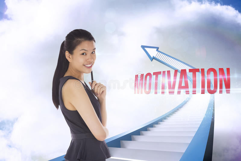 Motivation against red staircase arrow pointing up against sky royalty free stock images