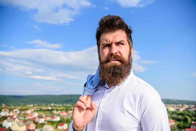 Motivation and ambitions concept. Hipster beard mustache looks puzzled frustrated. Frustration feeling. Man bearded stock images