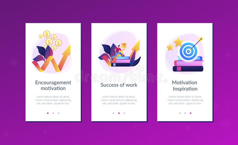 Motivation app interface template. Businessman with trophy cup jumping on books to target and rising arrow. Motivation, job success, encouragement concept on royalty free illustration