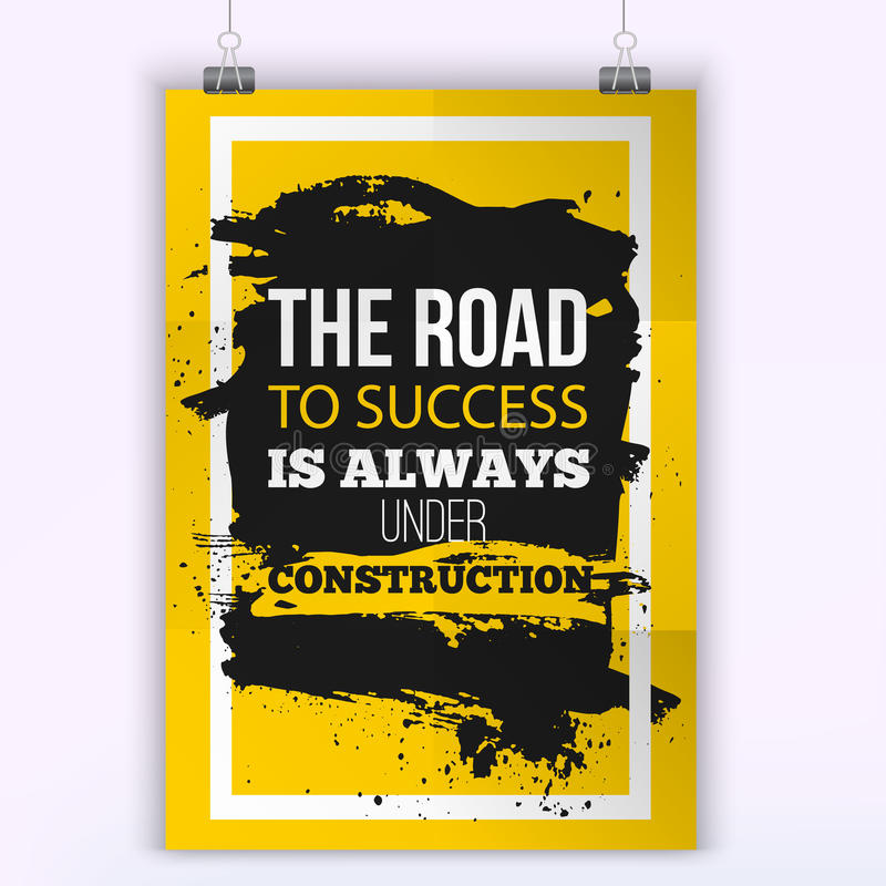 Motivation Business Quote Road to success. Mock up Poster. Design Concept on paper with dark stain easy to edit. A4 stock illustration